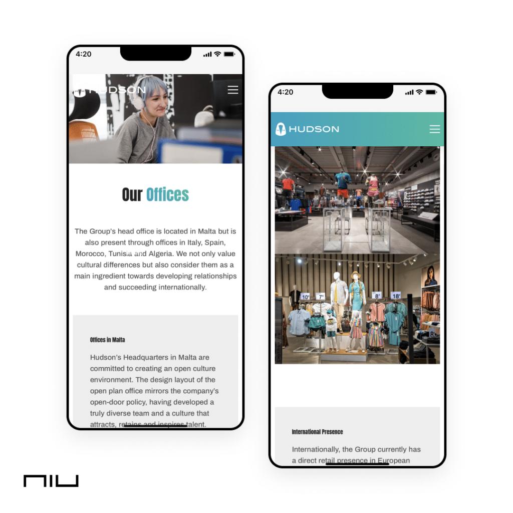 corporate website development mobile version
